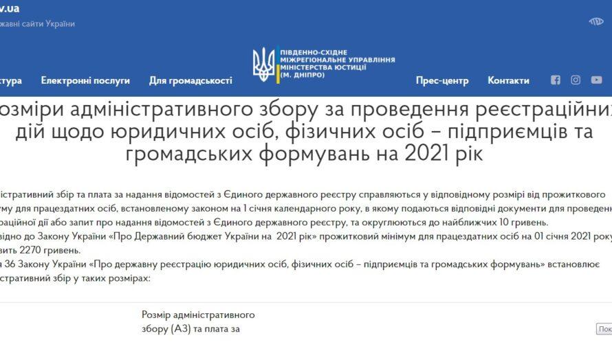 Розміри адмінзбору за реєстраційні дії щодо юридичних осіб, ФОПів та ГО у 2021 році